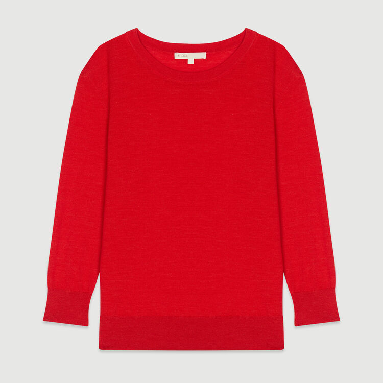 Pull col rond : Maille couleur Rouge