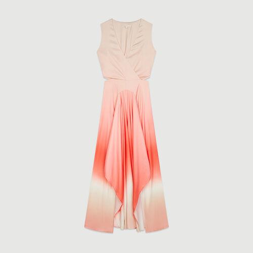 Robe longue tie & dye en matière satinée : Robes couleur Corail