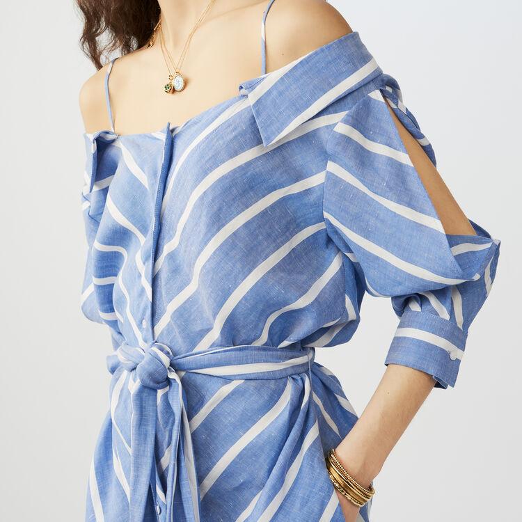 Robe-chemise rayée à épaules dénudées : Tout Voir couleur Bleu