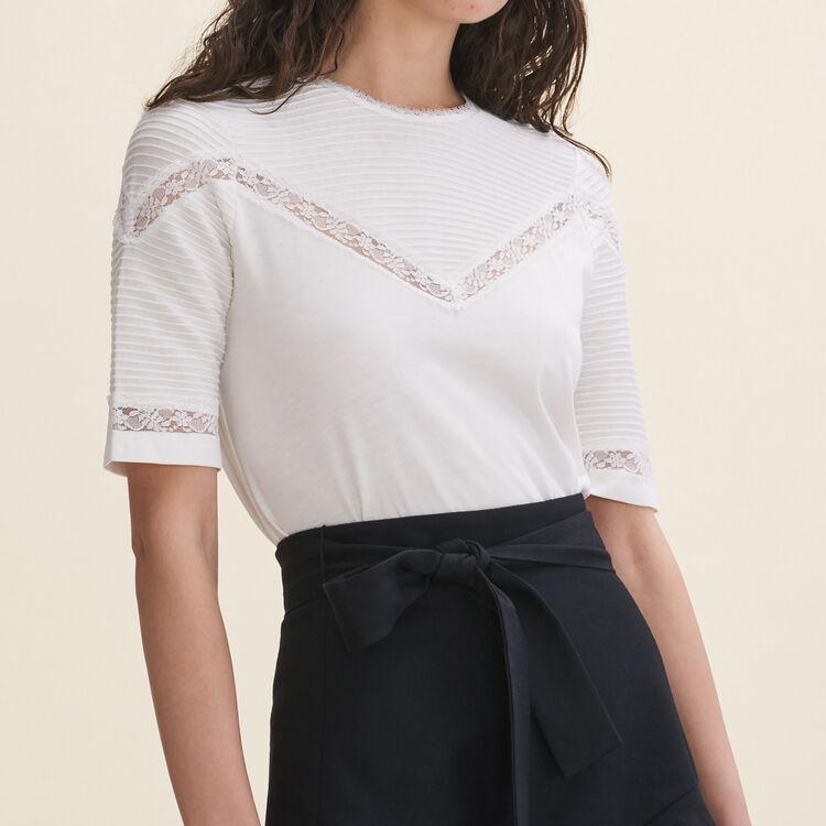Tee-shirt avec galons de dentelle - T-Shirts - MAJE