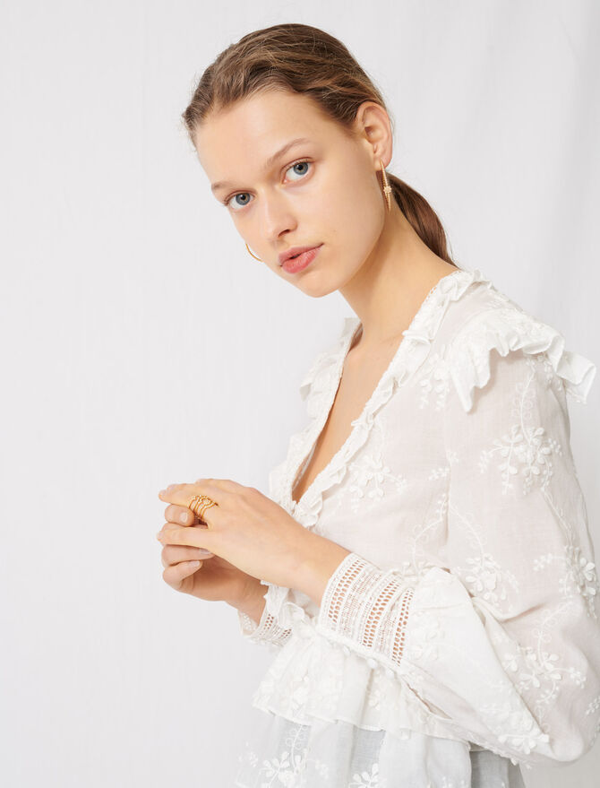 Top à broderies anglaises - Tops & Chemises - MAJE