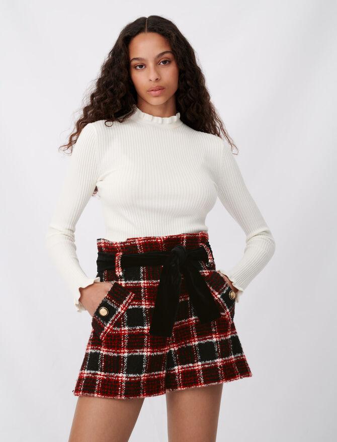 Short à carreaux et ceinture en velours - Jupes & Shorts - MAJE