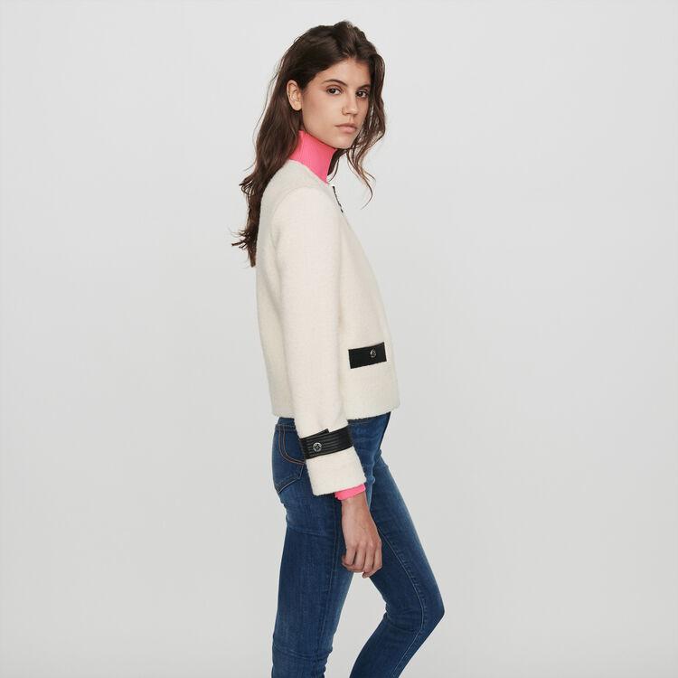 Veste zippée façon tweed contrastée : Vestes couleur ECRU