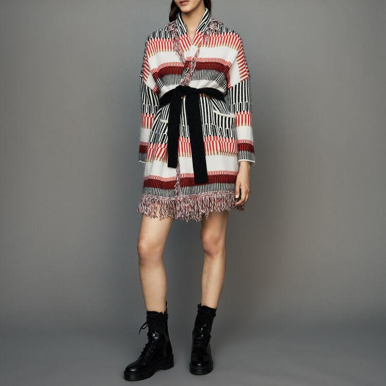 Cardigan en laine mélangée à franges : Maille couleur MULTICO
