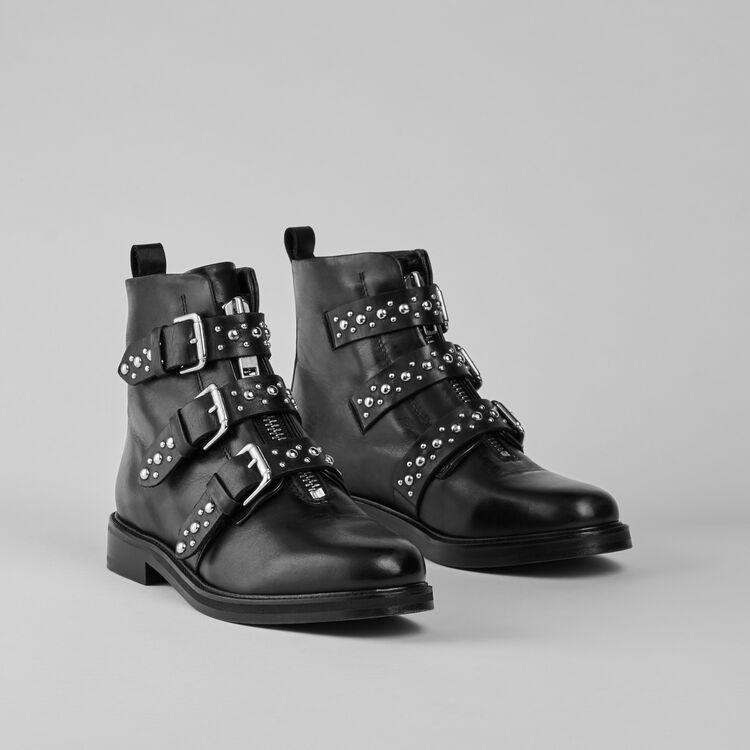 Bottines plates en cuir et studs : Bottines & Bottes couleur Noir