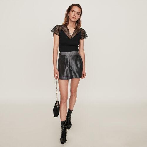 Top en jersey incrusté de dentelle : Collection hiver couleur Noir