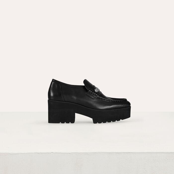 Mocassins plateforme en cuir et studs : Chaussures plates couleur Black