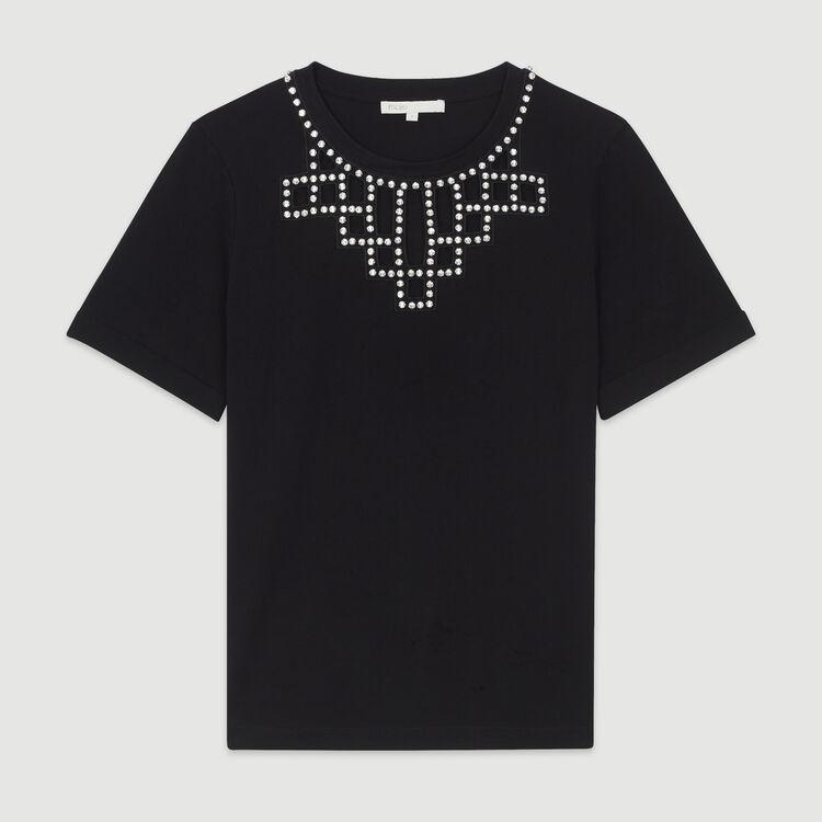 Tee-shirt ajouré avec strass : T-Shirts couleur BLACK