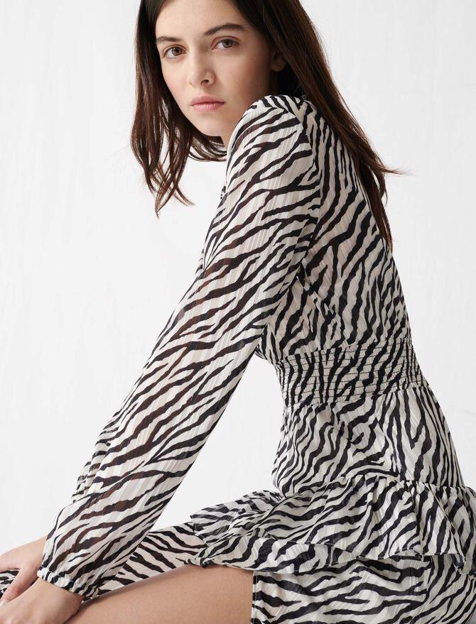 Robe asymétrique imprimée noir et blanc - Robes - MAJE