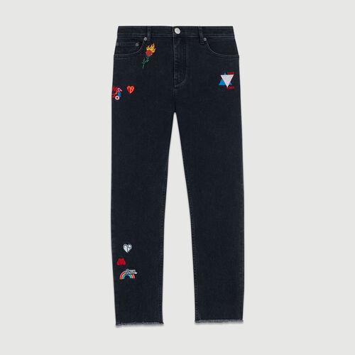 Jean droit avec broderies : Jeans couleur GRIS