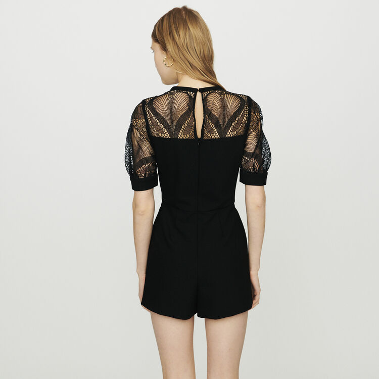 Combinaison-short en crêpe et dentelle : Jupes & Shorts couleur Black