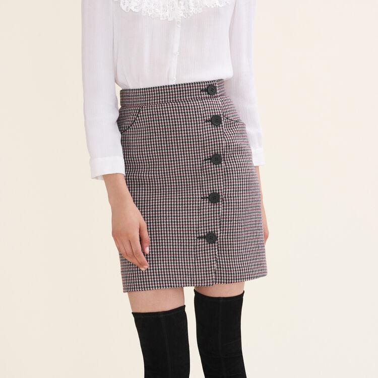 Jupe courte imprimée pied-de-poule : Jupes & Shorts couleur Jacquard