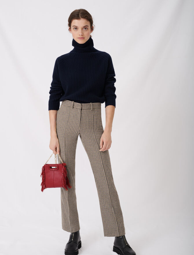 Pantalon droit à carreaux - Nouvelle collection - MAJE