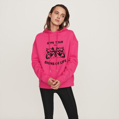 Sweat-shirt à capuche brodé : Pulls & Cardigans couleur FUSCHIA