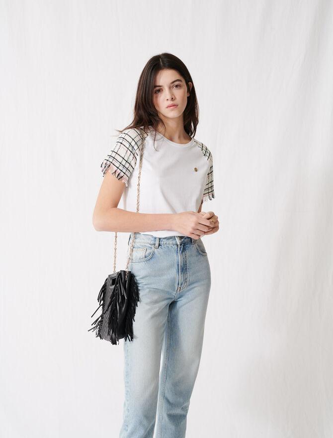 T-shirt à manches courtes façon tweed - T-Shirts - MAJE