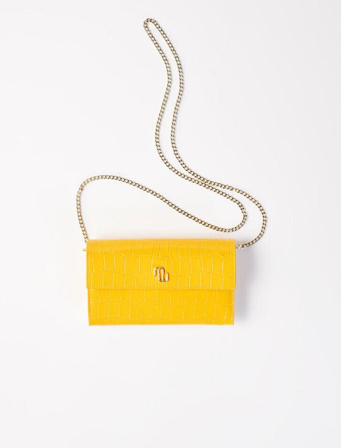 Portefeuille croco avec chaîne -  - MAJE