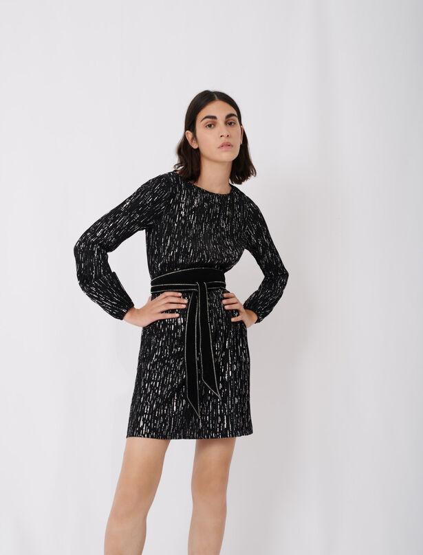 마쥬 원피스 MAJE Robe courte plissee,Noir/Argent