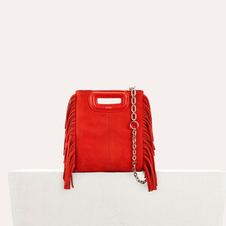 Sac M mini en suède avec franges : Nouvelle Collection couleur Rouge