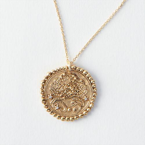 Collier Cancer signe du zodiaque : Tous les accessoires couleur Vieux Laiton