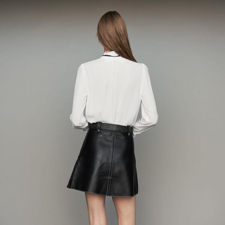 Chemisier avec détails en guipure : Tops & Chemises couleur Blanc