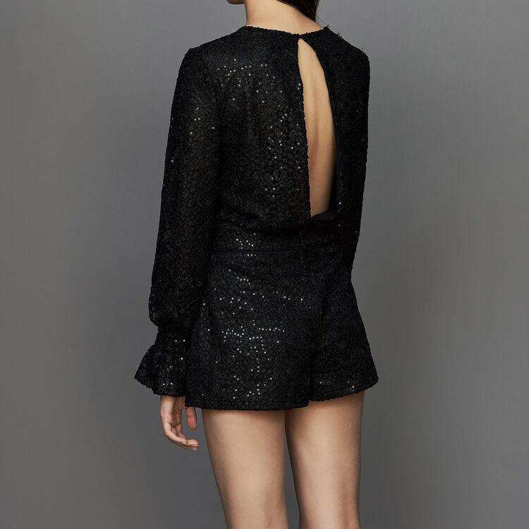 Combi-short en dentelle : Combinaisons couleur Black