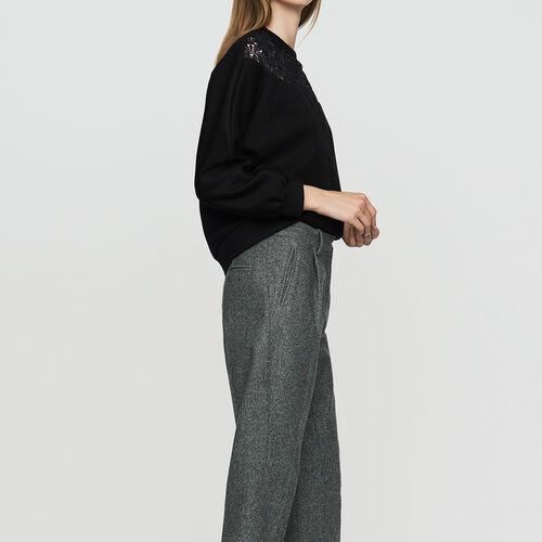 Pantalon à pinces en laine mélangée : Pantalons couleur Gris