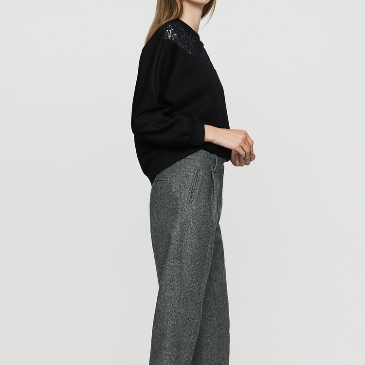 Pantalons true Pantalon à pinces en laine mélangée   Pantalons couleur Gris c370ff8e357d