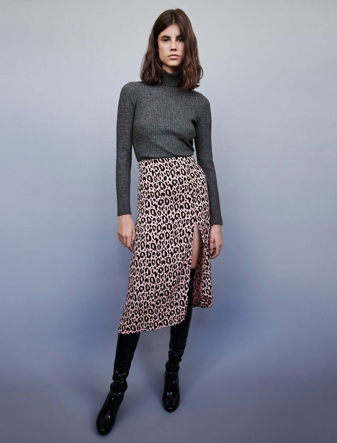 Jupe fendue en jacquard imprimé - Jupes & Shorts - MAJE