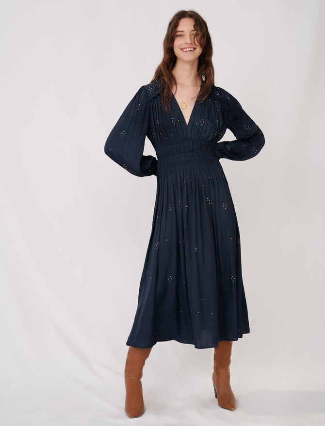 Robe en satin à studs avec volants - Robes - MAJE