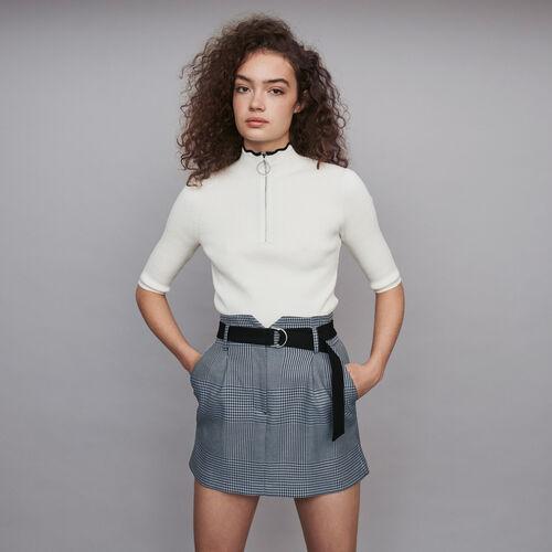 Jupe courte ceinturée à carreaux : Jupes & Shorts couleur Bleu
