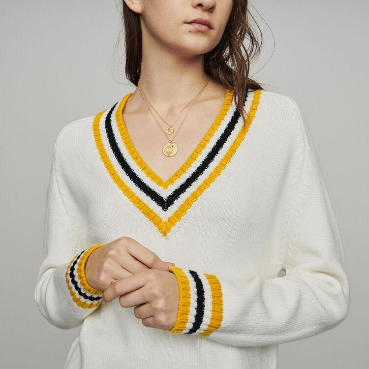 Pull col V à bandes contrastées : Pulls & Cardigans couleur ECRU