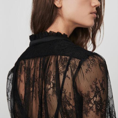 Top en dentelle avec lavallière : Tops & Chemises couleur Noir