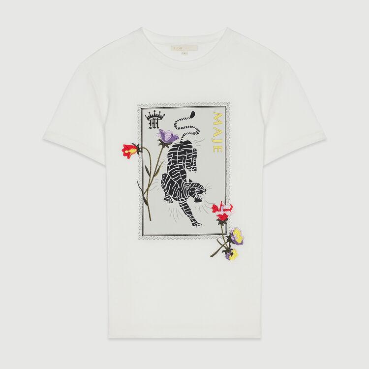 Tee-shirt imprimé avec broderies : T-Shirts couleur BLANC