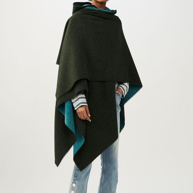 Poncho à capuche réversible : Châles & Ponchos couleur Kaki