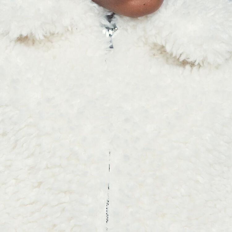 Blouson court en fausse fourrure : Manteaux couleur Blanc