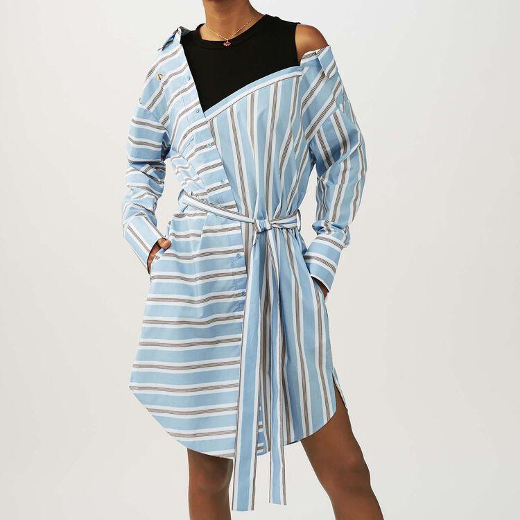 Robe-chemise oversize en coton rayé : Robes couleur Bleu Ciel
