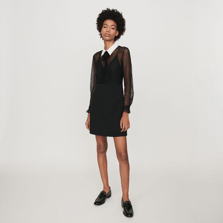 Robe en guipure et crêpe à col contrasté : Robes couleur Noir