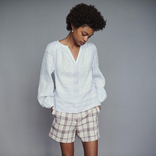 Blouse avec guipure : Tops & Chemises couleur BLANC