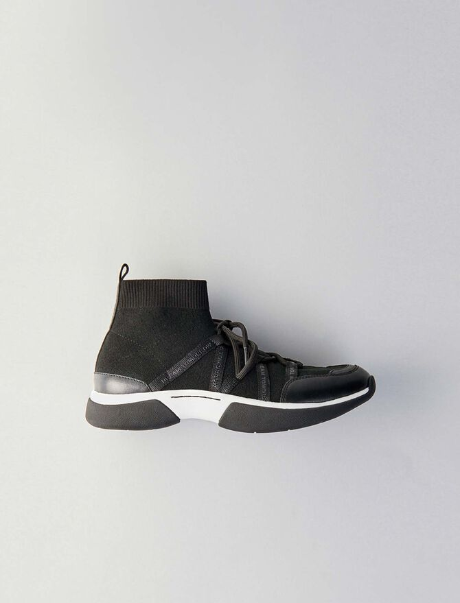 Sneakers W21 montantes en maille stretch - Sneakers - MAJE