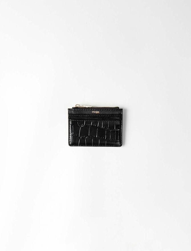 Porte-cartes zippé en cuir embossé - Petite maroquinerie - MAJE