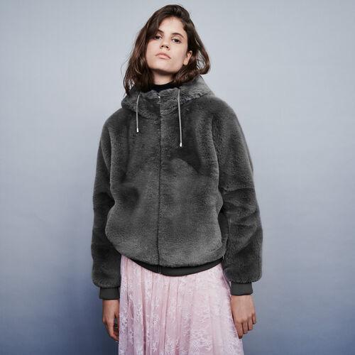 Blouson en fausse fourrure à capuche : Manteaux & Blousons couleur Gris