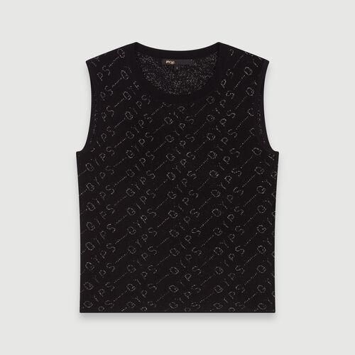 Pull sans manches en jacquard Lurex : Pulls & Cardigans couleur Noir
