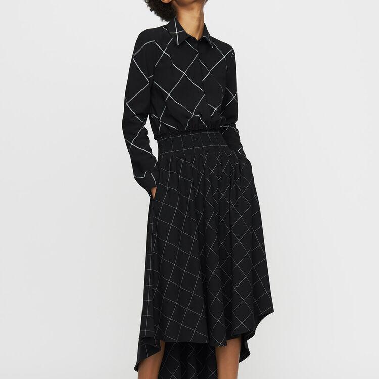 Robe-chemise asymétrique à carreaux : Robes couleur CARREAUX