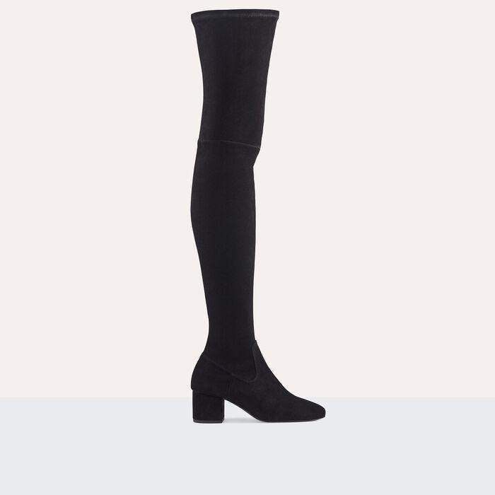 Cuissardes plates en veau velours : Chaussures couleur BLACK