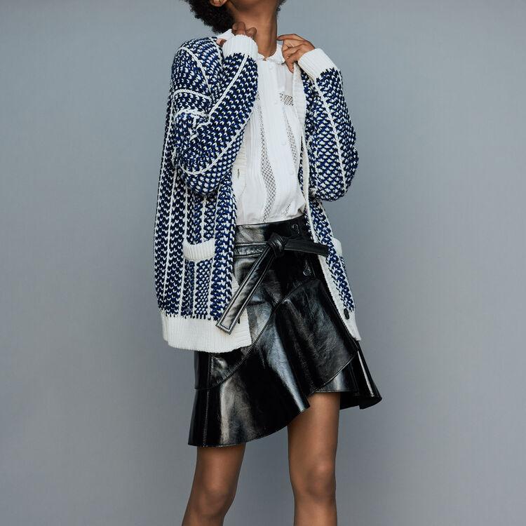 Gilet oversize en maille jacquard : Maille couleur Bleu