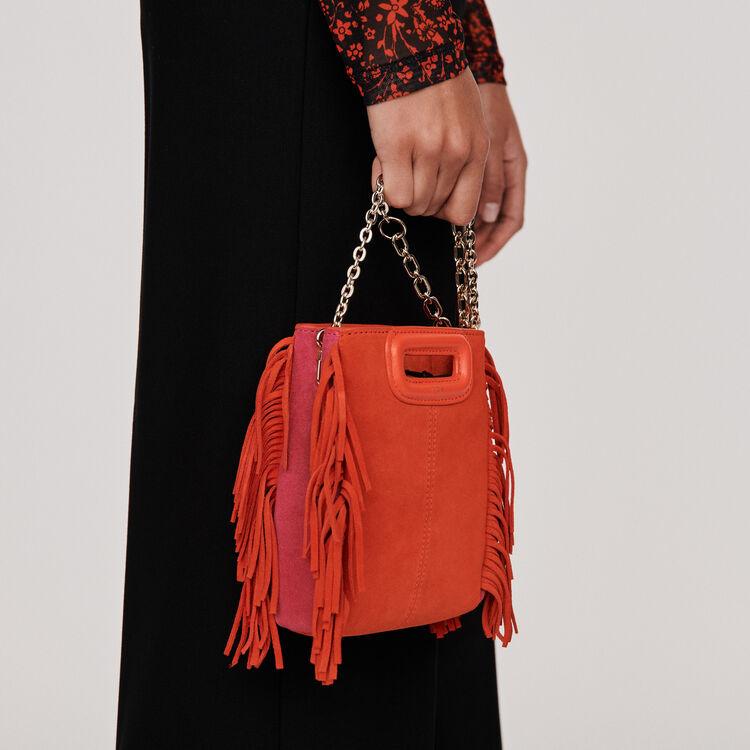 Sac M Mini en suède bicolore avec chaîne : M Mini couleur Rouge