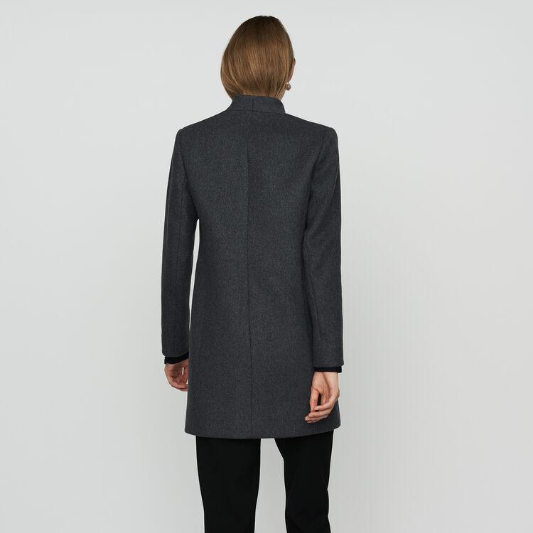 Manteau droit bordé de satin : Manteaux couleur Anthracite