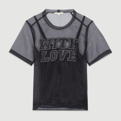 Top en organza à message : T-Shirts couleur Black
