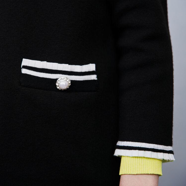 Cardigan contrasté à bijoux : Pulls & Cardigans couleur Noir