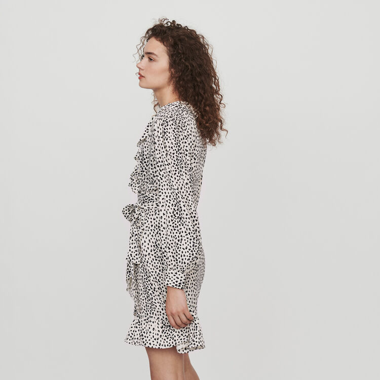 Robe cache-cœur en jacquard imprimé : Robes couleur Blanc
